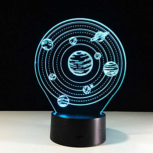 (Rtfc The Universe A Planet 3D Lamp Small Desk Lamp The Solar System Night Light USB 7 Color Chang Light As Children's Gift)