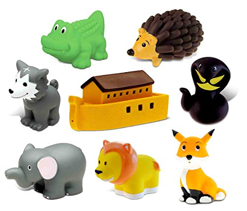 Dollibu Bath Buddies Noahs Ark and Critters Rubber Squirter Toys - Boat, Fox, Hedgehog, Elephant, Lion, Wolf, Snake, Alligator - 3 inch - For Baths, Pool, Outdoor - Baby Bathtime Learning (8pc Set)