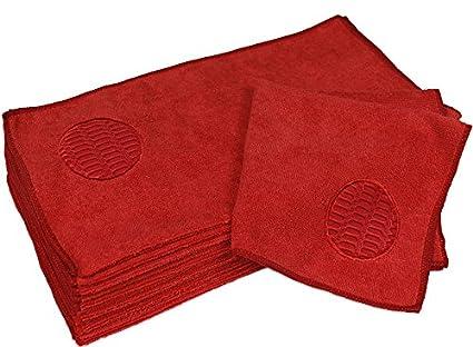CleanAide - Toalla de microfibra para limpiar puntos (16 x 16 pulgadas, 12 unidades), color rojo: Amazon.es: Amazon.es