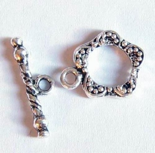 2 sets .925 Sterling Silver Garden Flower Toggle Clasp 12mm / Findings/Antique