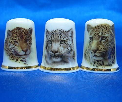 Birchcroft China Thimbles Set of Three Leopards