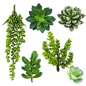6 Pcs Assorted Unpotted Fake Succulent Plants Artificial Succulent in Different Green Faux Hanging Succulents Textured Faux Succulent Pick Hanging String of Pearls Plant for Wedding, Door Wreath Decor 65