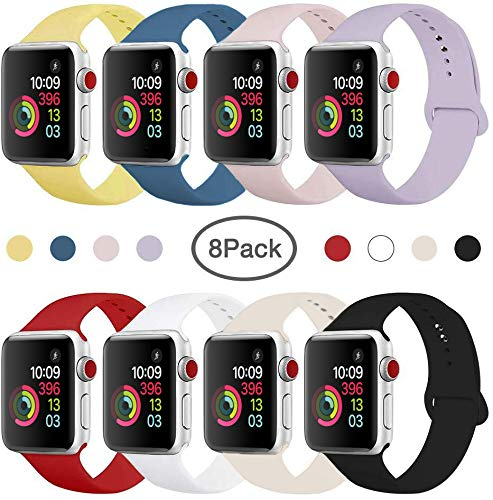 Compatible Band for Apple Watch 38mm 42mm 40mm 44mm, Soft Silicone Sport Strap Replacement Wristband for Apple Watch Series 5 4 3 2 1, Women Men, Small Large (8 Pack) (38mm/40mm S/M.) (Thick Wristbands Silicone)