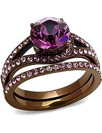 stainless steel fashion ip coffee light round cut womens wedding engagement bridal ring set - Stainless Steel Wedding Ring Sets