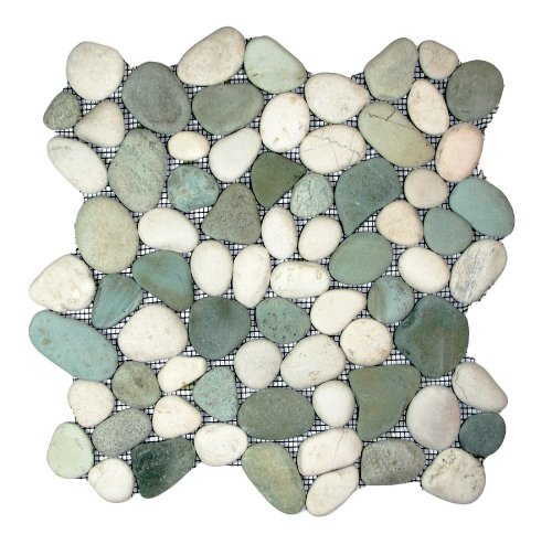 Sea Green and White Pebble Tile Sample