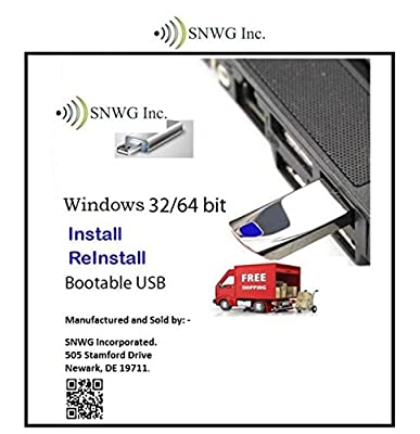 SNWG 8GB USB Windows 10 Home Install Re-Install Drive Packet with Free License, Tune-up and Winzip
