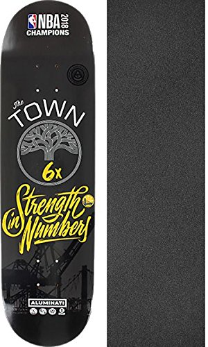 Aluminati Skateboards NBA 2018 Champion Warrior 6x Woody Limited Edition - 8.25'' x 32'' with Black Magic Griptape - Bundle of 2 items by Aluminati Skateboards