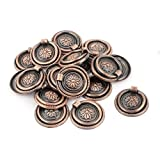 Drawer Cupboard Cabinet Round Ring Pull Handles Bronze Tone 20pcs