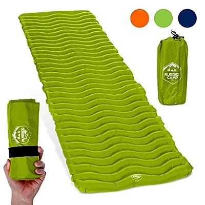 Rugged Camp Air Mat+ Camping Sleeping Pad - Ultralight 17.2 OZ - Best Inflatable Sleeping Air Mattress for Backpacking, Hiking, Traveling - Lightweight & Compact Camp Sleep Pad (Air Mat+)