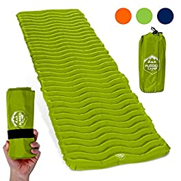 Rugged Camp Air Mat+ Camping Sleeping Pad – Ultralight 17.2 OZ – Best Inflatable Sleeping Air Mattress for Backpacking, Hiking, Traveling – Lightweight & Compact Camp Sleep Pad (Air Mat+)