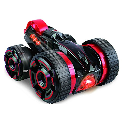 Stunt Vehicle (SZJJX Five Wheels Race Stunt Car 2WD Remote Control RC Vehicle with LED Headlights Extreme High Speed 360 Degree Rolling Rotating Rotation Red)