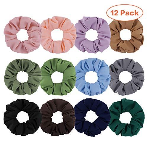 Cuttte 12 PCS Hair Scrunchies, Chiffon Hair Ties, Elastic Hair Bands 90s Scrunchies Ponytail Holder (12 Colors)
