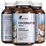 Coconut Oil Pills for Weight Loss 2000 mg Capsules Pure Extra Virgin Coconut Oil- Fat Burner Softgel Pills with Essential Fatty Acids  source of MCT  Supplement for Natural Energy  Weight Loss  Skin + Hair  Nature Berg