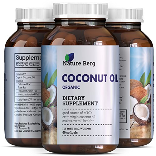 2000 mg Capsules Pure Extra Virgin Coconut Oil- Fat Burner Softgel Pills with Essential Fatty Acids – source of MCT – Supplement for Natural Energy – Weight Loss – Skin + Hair – Nature Berg