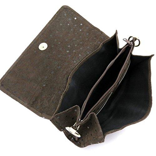 Ledertasche tasche 'Frandi'braun erbsen (2 falten).