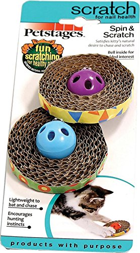 Petstages 701 Spin and Scratch Cat Catnip Toss and Bat ()