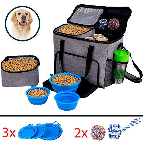 - Dog Travel Bag for Pet Accessories and Food Bag - Airline Approved Pet Carrier Food Bag for Puppy Stuff - Pet Travel Tote Includes 2x Food Containers, 1 Large + 2 Small Collapsible Dog Travel Bowls