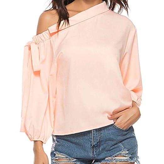 0249ff12d637bc Womens Tops Autumn Oblique Collar Off Shoulder Tops Bow Long Sleeve T-Shirt  Tops Loose