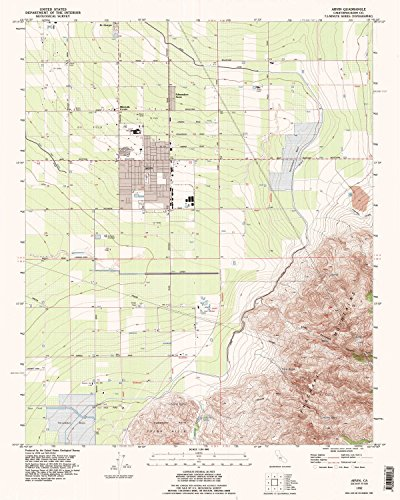 Arvin CA topo map, 1:24000 scale, 7.5 X 7.5 Minute, Historical, 1992, updated 1995, 26.9 x 21.5 IN - - Map Arvin