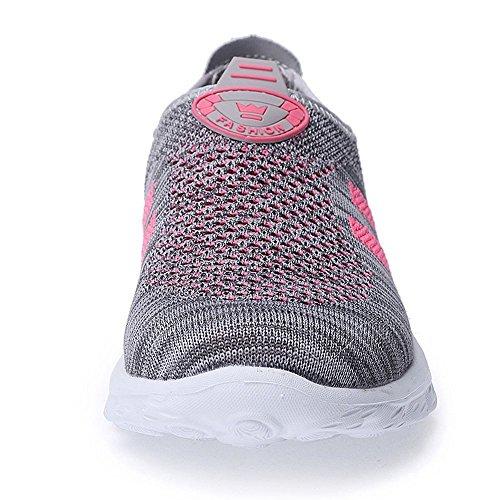 XMeden Women's Slip On Mesh Walking Shoes,Outdoor Sport Running Gray Rose Red