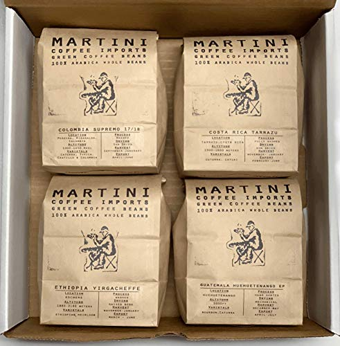 Unroasted Green Coffee Bean Sampler Pack – 4LBS – 100% raw arabica coffee beans – COLOMBIA, ETHIOPIA, GUATEMALA, BRAZIL…
