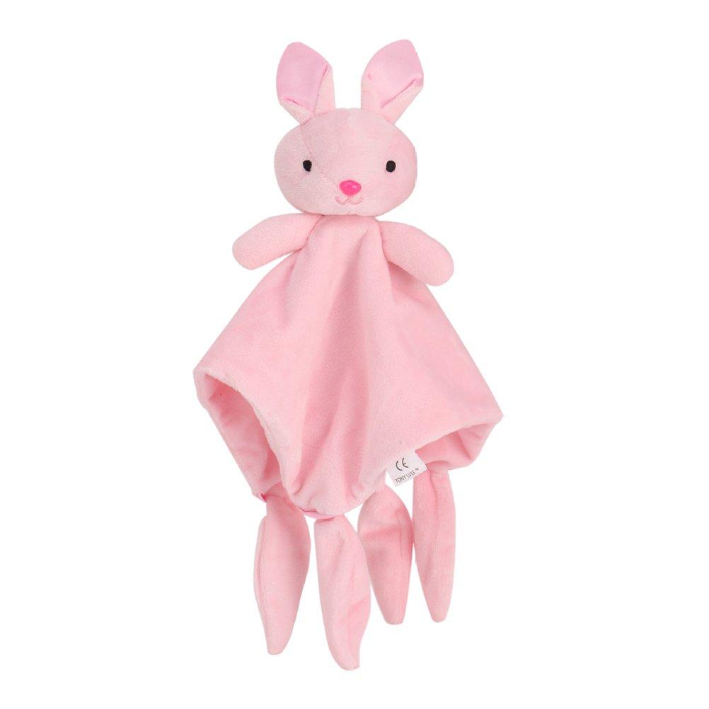 TOYMYTOY Baby Security Blanket Newborn Comforter Toy Comfort Blanket Plush Animal Security Blankie (Pink Rabbit)