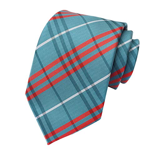 MINDENG New Classic Blue Red Striped Jacquard Woven 100% Silk Mens Ties Neckties