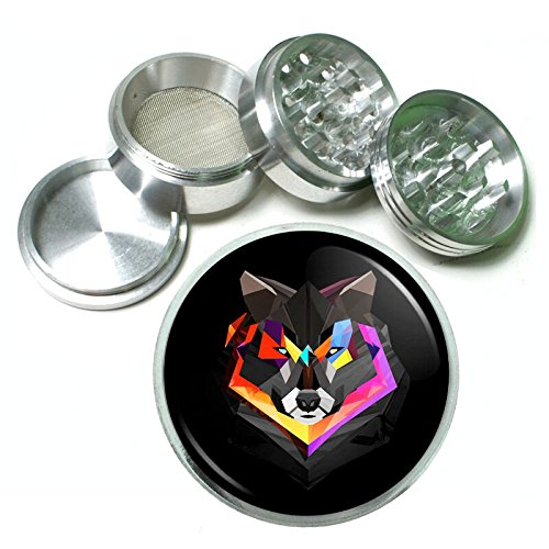 Rainbow Wolf Em4 Silver Chrome 63mm Aluminum Magnetic Metal Herb Grinder 4 Piece Hand Muller Spices & Herb Heavy Duty 2.5