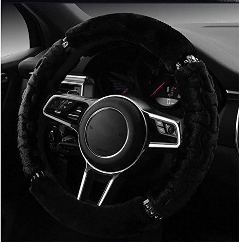 RUIRUI Winter Warm Soft Plush Car Steering Wheel Cover Universal , Black
