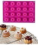 Ören 20 Cavity Mini Bundt Cake Silicone Baking Mould Ice Cube Tray Chocolate Mould 30x20x2.3cm Pink