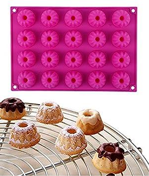 Ören 20er Mini Gugelhupf Backform Silikon Gugelhupfform Eiswürfelform Schokoladenform 30x20x2.3cm Rosa