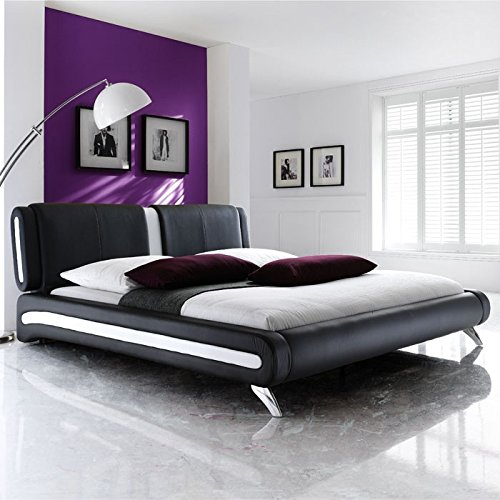 Completamente cuna cama acolchada negro 160 x 200 + somier + colchón cama cuna Malin de diseño: Amazon.es: Hogar