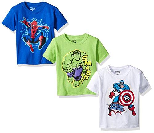 k, Spider-Man, Captain America 3-Pack T-Shirt, Blue/White/Green, Medium (5/6) ()