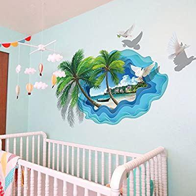 Boodecal 3D Tropical Palm Tree Beach Landscape Removable Vinyl Wall art Stickers Decals for Living Room Bedroom Office Decor