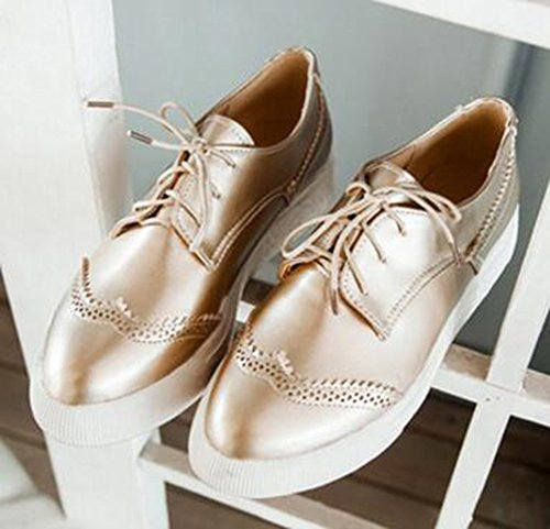 Pointed Casual Womens Up Gold Platform Toe Thick Flat Lace Oxford Shoes Sole Dressy Easemax Sneakers 5qwXdzq