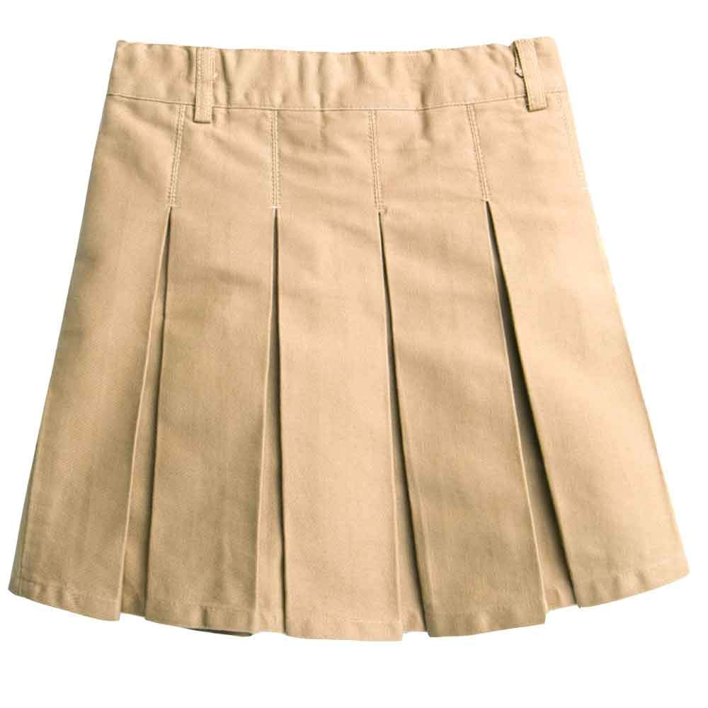 Girls Cotton Adjustable Waist School Uniform Pleat Skirt Khaki Tag 110 (3-4 Years)