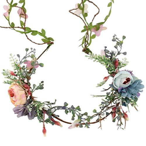 Floral Fall Adjustable Bridal Flower Garland Headband Flower Crown Hair Wreath Halo F-83 (Lavender)]()