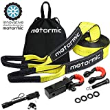motormic Tow Strap Recovery Kit – 30 ft x 3'' (30,000 lbs.) Rope + 2'' Shackle Hitch Receiver + 5/8'' Locking Pin + 3/4'' D Ring Shackles + Heavy Duty Bag - Off Road Pick Up Truck Emergency Towing