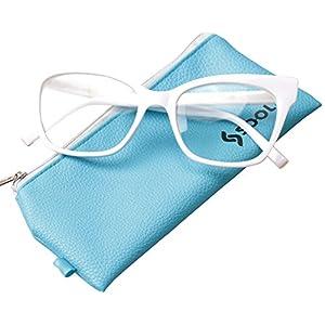 SOOLALA Vintage Stylish 53mm Lens Oversized Reading Glass Big Eyeglass Frame, White, ClearLens