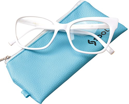 SOOLALA Vintage Stylish 53mm Lens Oversized Reading Glass Big Eyeglass Frame, White, - Prescription Uk Designer Glasses Online