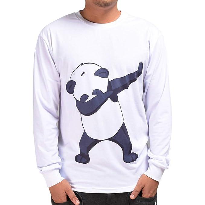 Yvelands Camiseta de Manga Larga para Hombre, Sudadera con Estampado 6D para Hombre Panda Hip