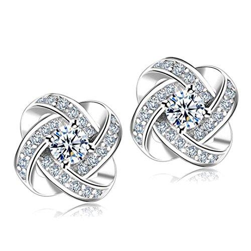 Women Earrings,Lethez Women's Crystal S925 Silver Eternal Star Stud Earrings Earbob Earrings Jewelry (Sliver)