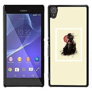 YiPhone /// Prima de resorte delgada de la cubierta del caso de Shell Armor - Globo Chica Negro cartel minimalista - Sony Xperia T3