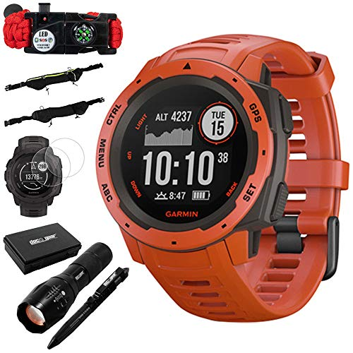 Garmin Instinct Rugged Outdoor Watch w/GPS & Heart Rate Monitoring, Flame Red +Accessories Bundle Includes, Tactical Emergency Bracelet, Tactical Flashlight & Pen Set w/Case, Zippered Waist Bag +More
