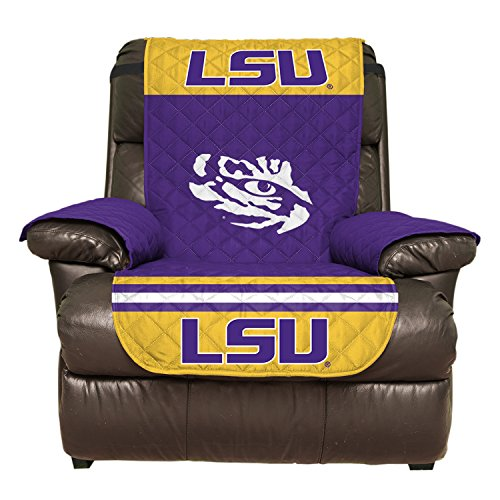 Cover Louisiana State University (Reversible Couch Cover - College Team Sofa Slipcover Set / Furniture Protector - NCAA Officially Licensed (Recliner, Louisiana State University Tigers (LSU)))