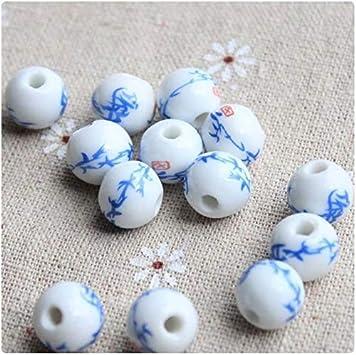 50pcs Ceramic Beads Large Handmade Flower Porcelain DIY Craft Bracelet Making