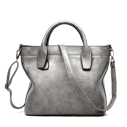 GWQGZ La Moda Retro Lady Handbag Gris Gray