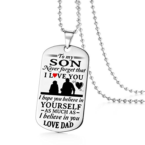 To My Son Believe In Yourself I Love You Dad Daddy Father Dog Tag Military Air Force Navy Coast Guard Necklace Ball Chain Gift for Best Son Birthday Graduation Stainless - Guard Tag Dog