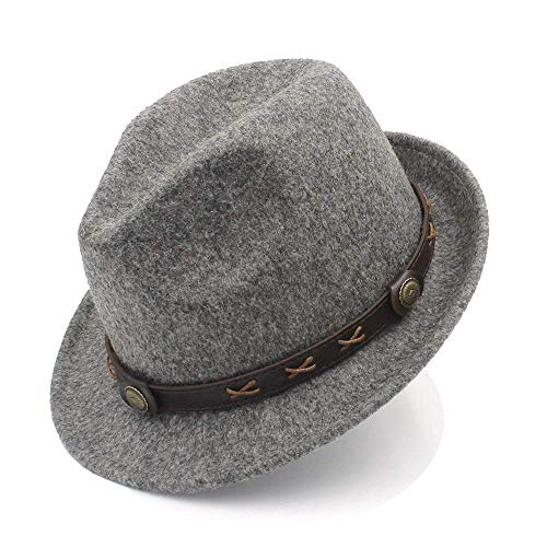 (Junson Lovely Women Men Winter Fedora Hat for Elegant Lady Dad Trilby Homburg Church Derby Cloche Chapeau for)