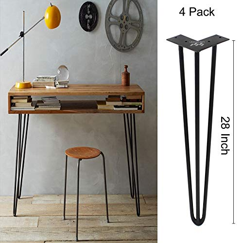 """EACH LEG SOLD SEPERATELY Optional Beeswax coating Raw Steel 28/"""" Hairpin Legs"""